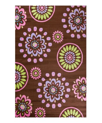 Brown Flower Kaleidoscope Rug