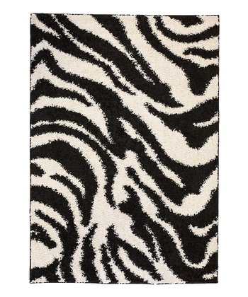 Black Zebra Safari Shag Rug