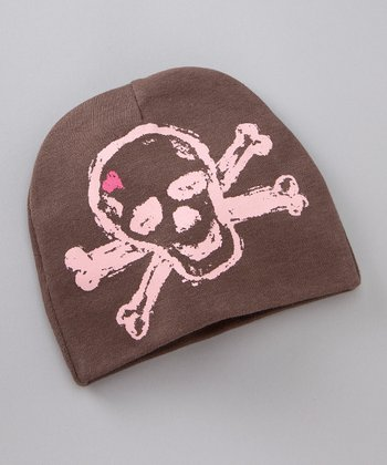 Brown & Pink Skull Heart Beanie - Infant