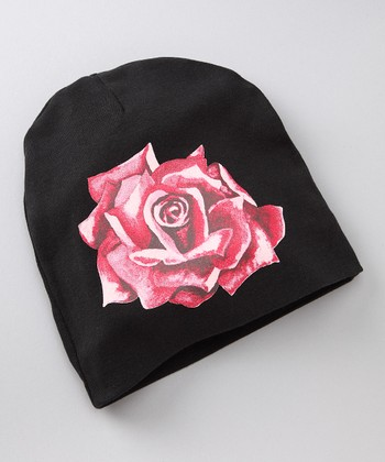Black & Red Rose Beanie
