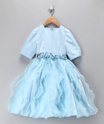 Blue Tea Length Pageant Dress - Toddler & Girls