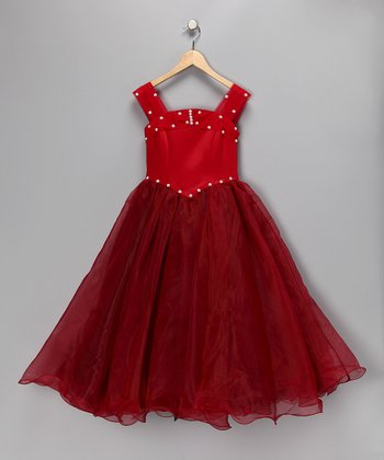 Red Princess Cut Pageant Dress - Toddler & Girls