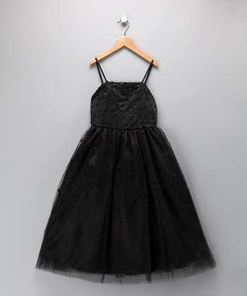 Black Beaded A-Line Dress - Toddler & Girls