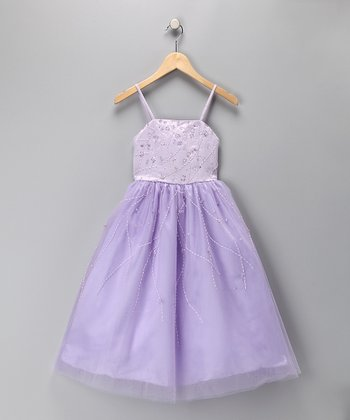 Lilac Beaded A-Line Dress - Toddler & Girls