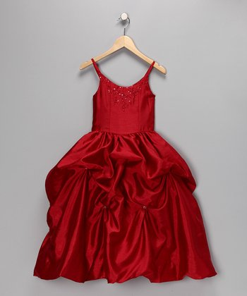 Red Beaded Gathered Dress - Toddler & Girls