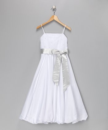 White & Silver Pageant Dress - Toddler & Girls