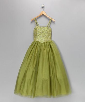 Lime Beaded Pageant Dress - Toddler & Girls