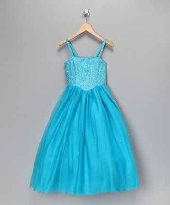 Turquoise Beaded Pageant Dress - Toddler & Girls