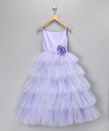 Lilac Tulle Tiered Dress - Girls