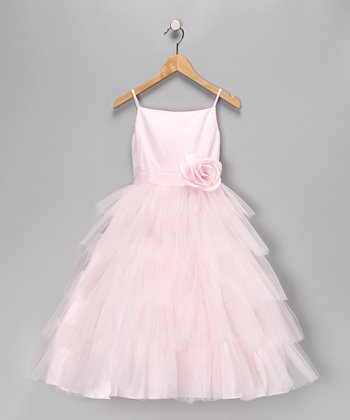 Light Pink Tulle Tiered Dress - Toddler & Girls