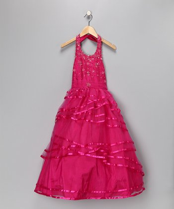 Cerise Halter Pageant Dress - Girls