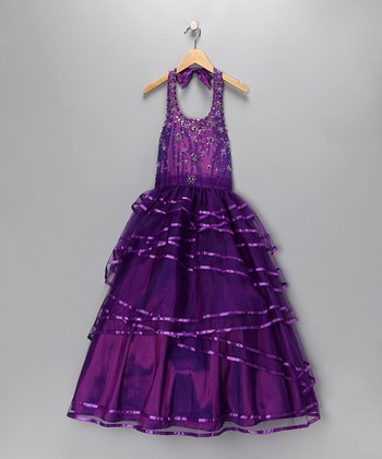 Violet Beaded Halter Pageant Dress - Toddler & Girls