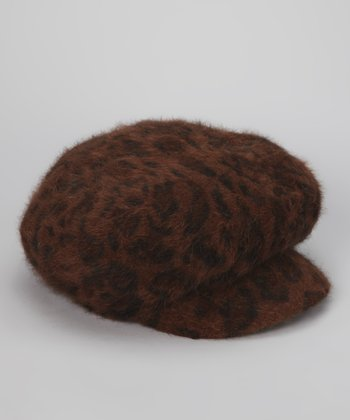 Brown Leopard Belluna Newsboy Cap