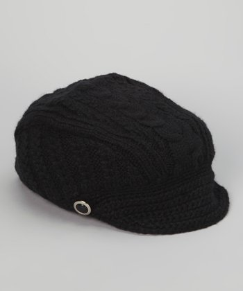 Black Knitted Brimmed Beanie