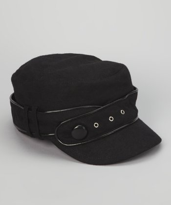 Black Military Twist Newsboy Cap