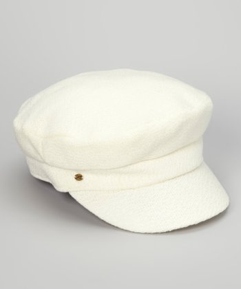 Cream Wool-Blend Newsboy Cap
