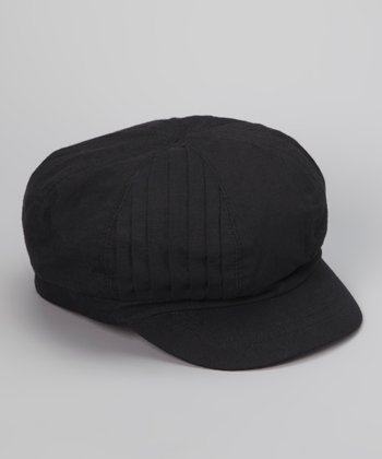 Black Pleated Newsboy Cap