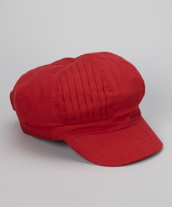 Red Pleated Newsboy Cap