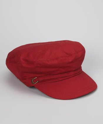 Deep Red Nautical Newsboy Cap