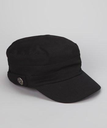 Black Military Linen-Blend Newsboy Cap