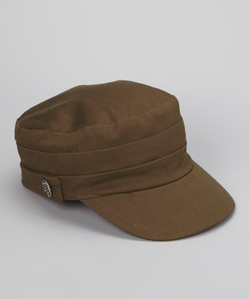 Olive Military Linen-Blend Newsboy Cap
