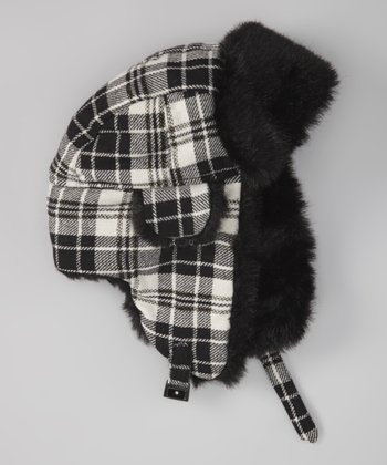 Ivory & Black Tartan Plaid Wool-Blend Trapper Hat