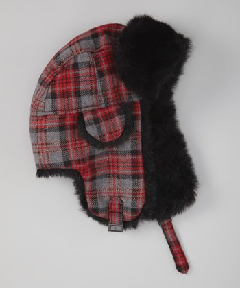 Red & Gray Tartan Plaid Wool-Blend Trapper Hat