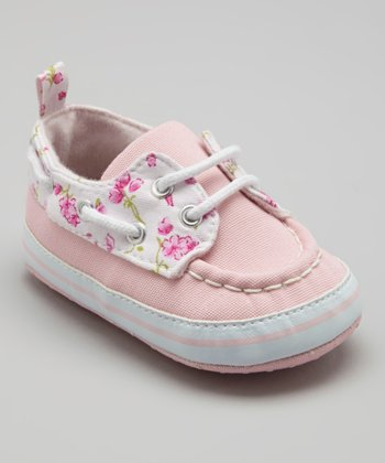 Light Pink Floral Boat Shoe