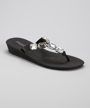 Black Gemstone Flip-Flop