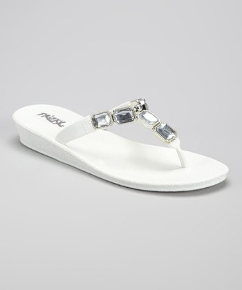 White Gemstone Flip-Flop