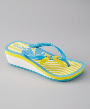 Blue & Yellow Stripe Flip-Flop