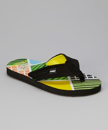 Yellow & Black Flip-Flop