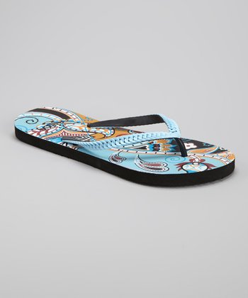 Blue Paisley Braid Flip-Flop