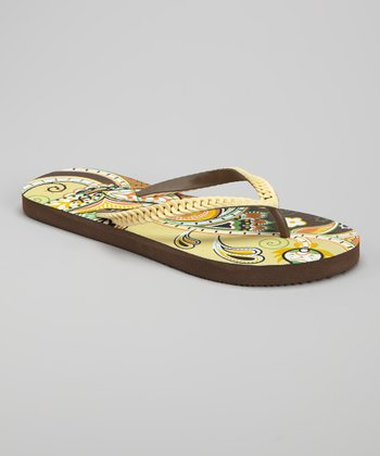 Yellow Paisley Braid Flip-Flop