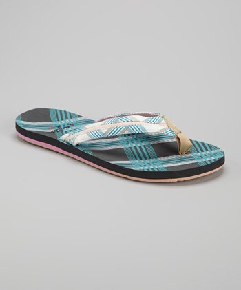 Gray & Blue Plaid Flip-Flop