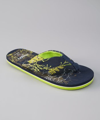 Blue & Lime Green Flip-Flop