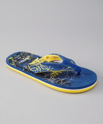 Royal Blue & Yellow Flip-Flop