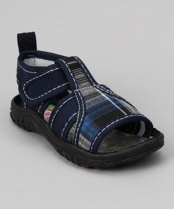 Navy Plaid Sandal