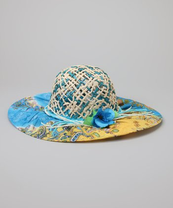 Yellow & Blue Paisley Glitter Straw Sunhat