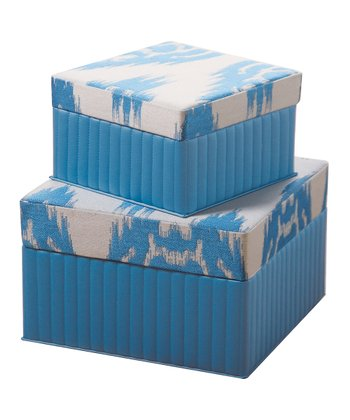 Turquoise Blue Ikat Square Sandy Wilson Box Set