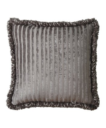 Gray Textured Stripe Fringe Throw Pillow