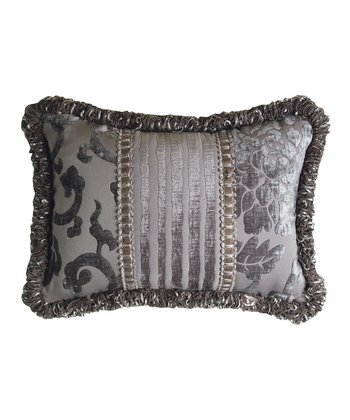Gray Regal Stripe Fringe Throw Pillow