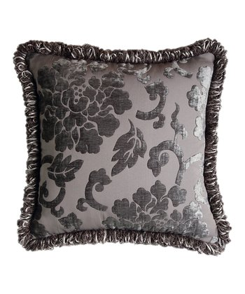Gray Regal Floral Fringe Throw Pillow