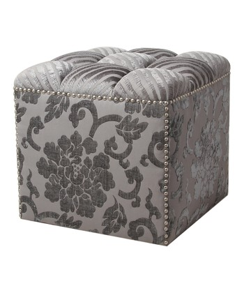 Gray Regal Floral Ottoman