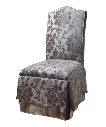 Gray Regal Floral Parson Dining Chair