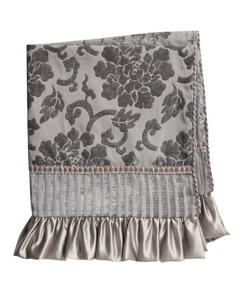 Gray Regal Floral Ruffle Throw