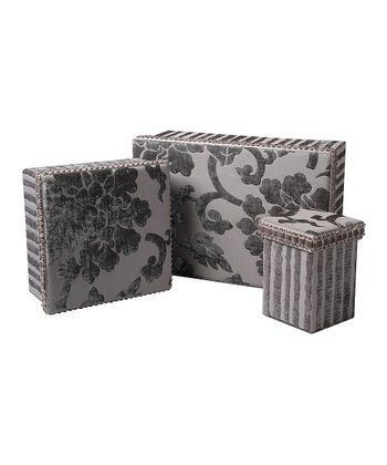 Gray Regal Floral Rectangular Box Set