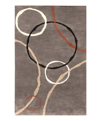 Gray & Black Circles Traverse Wool-Blend Rug