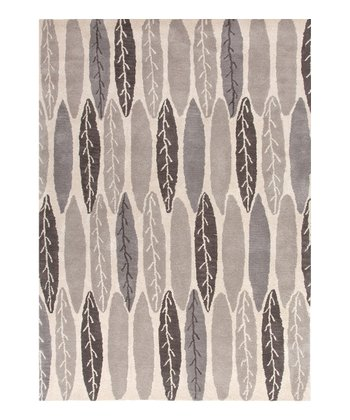 Gray & Black Modern Leaf Traverse Wool Rug