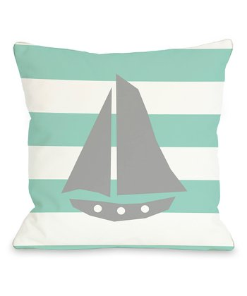 Aqua & White Sailboat Stripe Throw Pillow